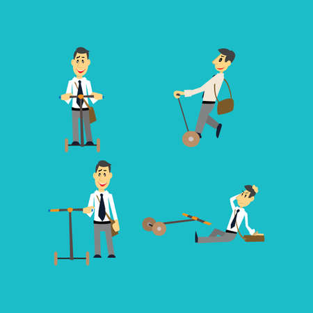 movement control: people riding on a roller Board. Set. vector illustration of cartoon