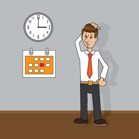 dissappointed: man looking at clock and calendar.vector illustration of cartoon