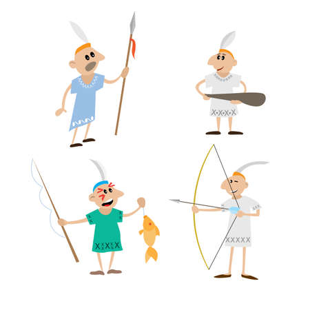indian fish: Indian spear, bow, stick, spinning. cartoon vector illustration