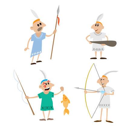 Indian spear, bow, stick, spinning. cartoon vector illustration