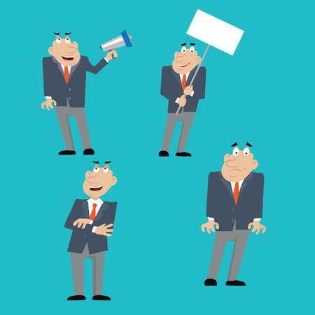 businessman shouting into a megaphone, holding a poster, evil boss. vector illustration of cartoon Illustration