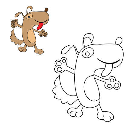 pooch: dog coloring pooch vector illustration cartoon