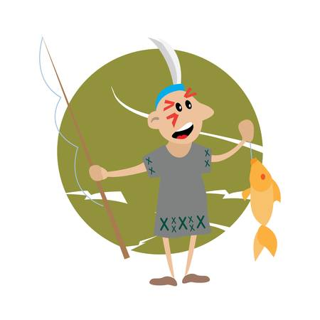 ardour: American Indian holding a fishing rod and fish. vector illustration of cartoon. Illustration