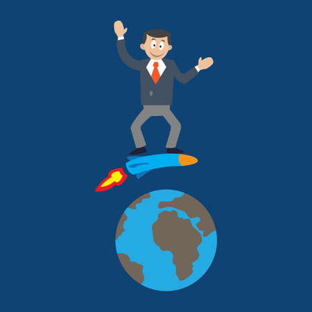 businessman flies over the earth on the rocket. vector illustration of cartoon.