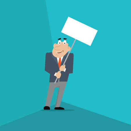 businessman holds in hand the poster. vector illustration of cartoon. Illustration