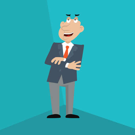 the man crossed his arms on his chest. vector illustration of cartoon Illustration