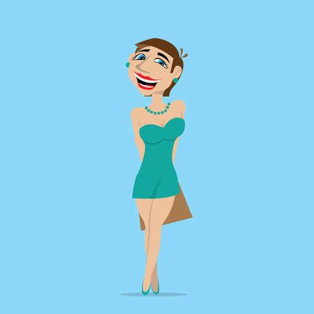 preadult: beautiful girl model holding the bag. vector illustration of cartoon