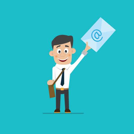 telegrama: hombre de negocios la celebración de una letra, ilustración vectorial de dibujos animados