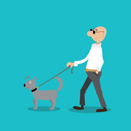 a man walks with a dog. vectori illustration cartoon