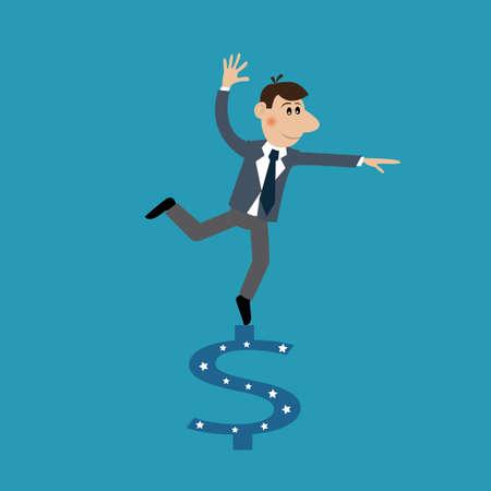 metaphoric: businessman and dollar sign. illustration of cartoon