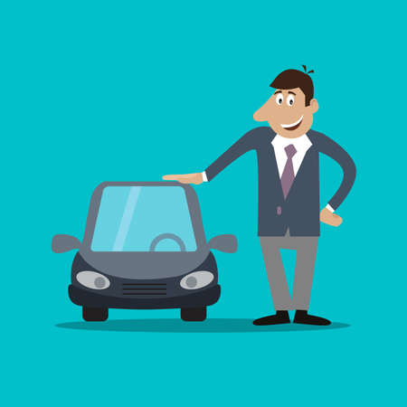 buyer: the businessman costs near car. illustration of cartoon Illustration