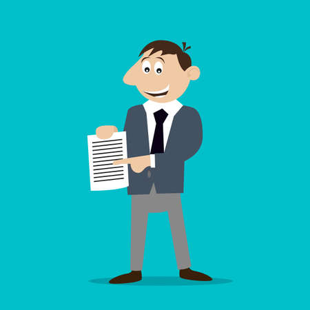 businessman holding a contract. illustration of cartoon