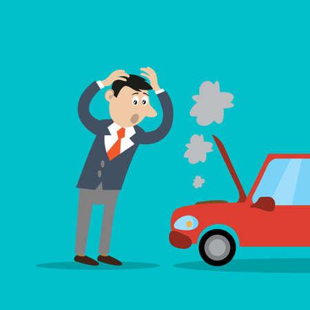 ビジネスマンの問題、車が故障。漫画のイラスト