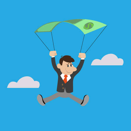 business graphics: the businessman uses the dollar as a parachute, illustration cartoon concept