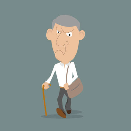 impatient: running angry man with a stick and bag. illustration of cartoon