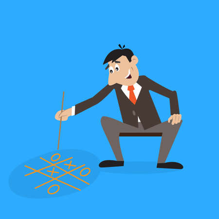 man sitting and playing TIC TAC toe. illustration of cartoon