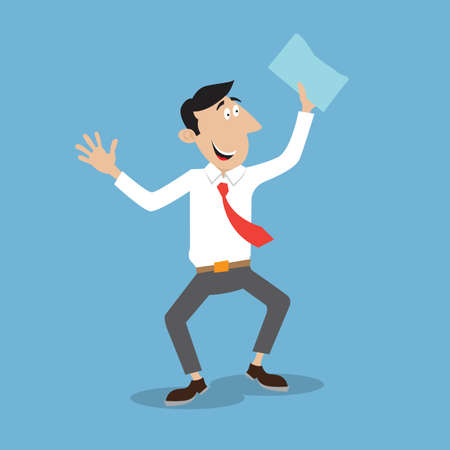 happy office worker holding a document. illustration cartoon