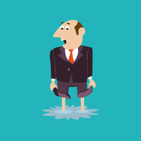 horizon over land: businessman standing in a puddle. trouble. illustration of cartoon