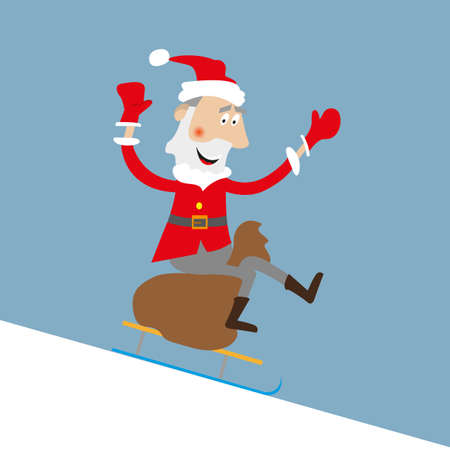 Santa Claus descends on a sled with slides. Sitting on bag of gifts.