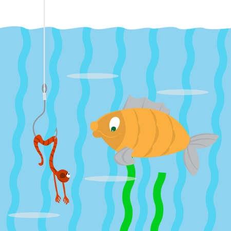 dead fish: fish swims. looking at a worm on a hook. the worm pretends to be dead. Illustration