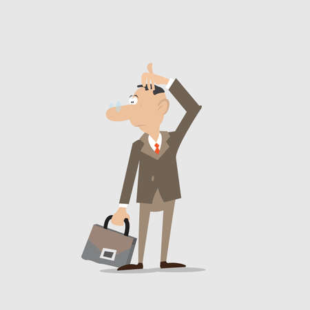 businessman with glasses is thinking. looking to the side. the hand stroking his head.