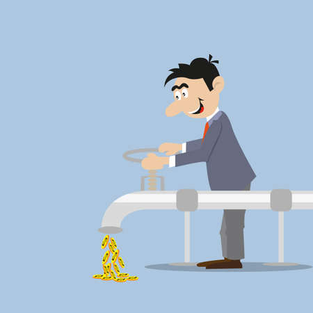 businessman opens the spigot out of him flow of coins. abstraction
