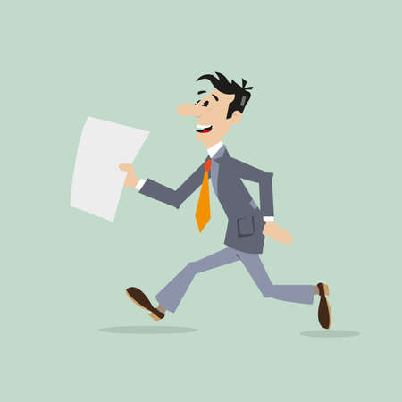 businessman running late. in the hands holding the document illustration of cartoon Illustration