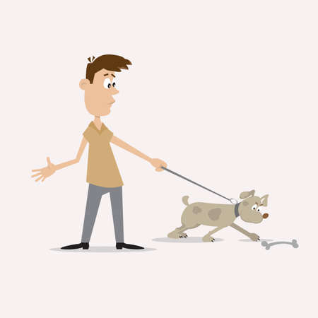 dog walking: the man walks the dog. the dog saw the bone Illustration