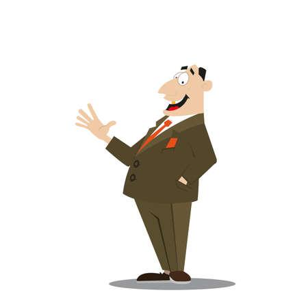 a successful businessman, enjoying life, profit illustration of cartoon Illustration