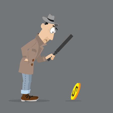 of man detective looking through a magnifying glass on the coin.