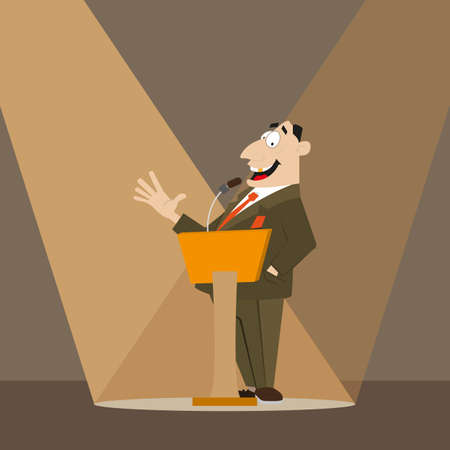 orator: Orator speaks at the podium. in the spotlight. vector illustration of cartoon