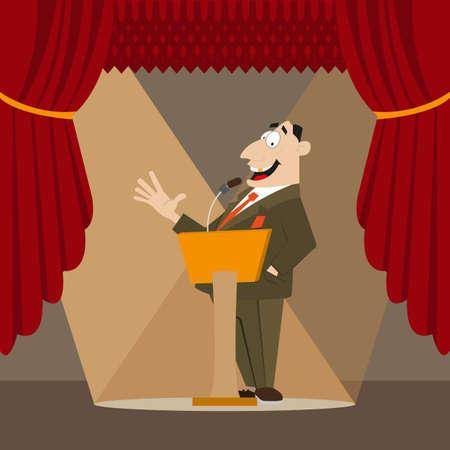 orator: Orator made a speech. in the spotlight. vector illustration of cartoon Illustration