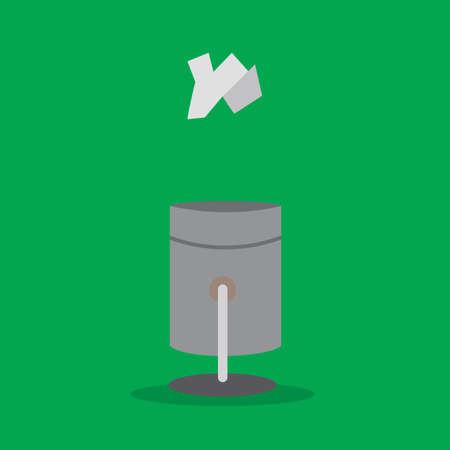 cesto basura: Vector icono de la papelera con el papel arrugado. Vectores