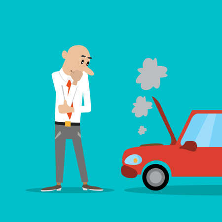 inconvenient: a man stands with his arms folded. looks at the broken car. vector illustration of cartoon Illustration