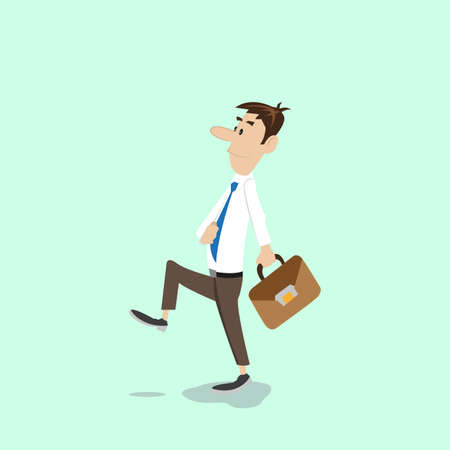 forwards: businessman walks with a bag in his hands. vector illustration of cartoon
