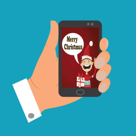 icon mobile phone in his hand. the message of Christmas congratulations. boy in Santa hat with gift. vector illustration of cartoon