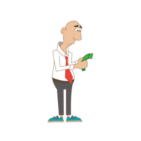 a man with a sad view counts the money. vector illustration Illustration