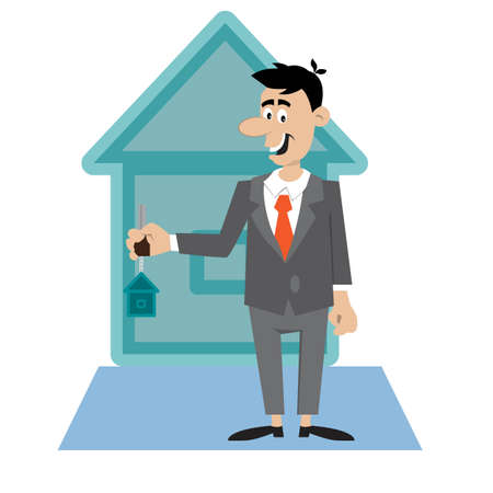 the person holding the keys to the apartment. vector illustration of cartoon Illustration