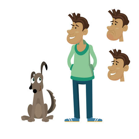 dog sitting next to the man. a set of human emotions, joy, happiness, sadness. vector illustration of cartoon