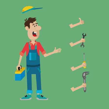 replaced: person fitter and set of tools. wrench, screwdriver and pliers, which can be replaced in a different position. vector illustration