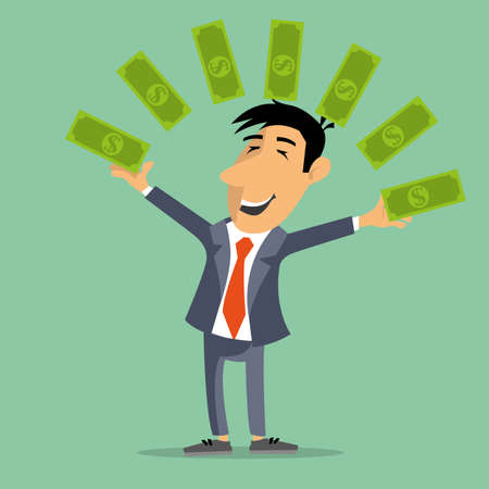 juggles: the person juggles money bills. wealth success fame. vector image