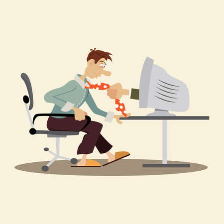 the world wide web is addictive man. dependence on the Internet. vector illustration of cartoon