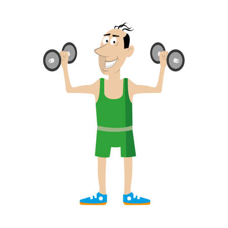 man doing exercises with dumbbells. vector illustration of cartoon Illustration