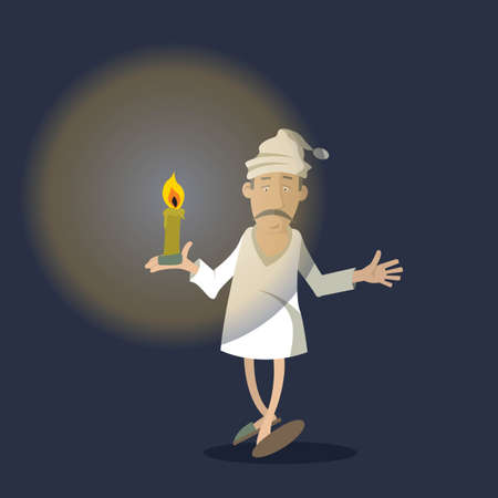 restless: person night in pajamas with a candle. vector illustration