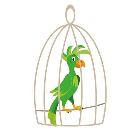 parrot sitting in a cage. vector illustration