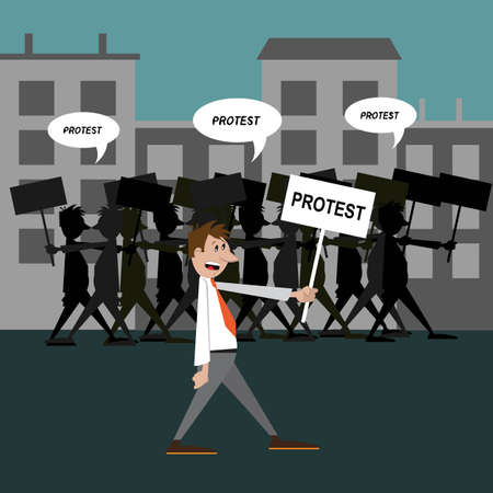demonstration people protest. vector illustration
