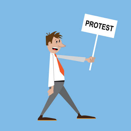 people at the rally with a placard protests. vector illustration Illustration