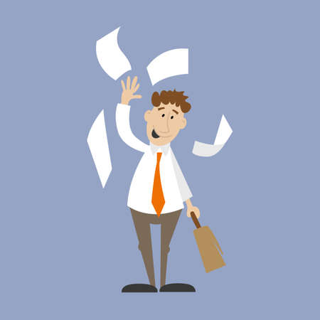 paperless: Business man throwing papers in the air. vector illustration