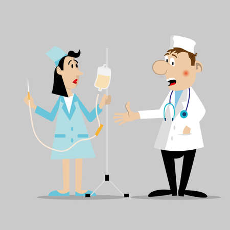 The doctor stands next to the nurse. describes how to put a drip. vector illustration. Character Illustration