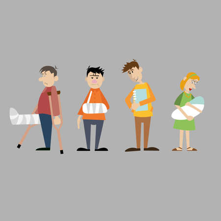 A set of characters. visitors to the hospital. sick people. vector illustration